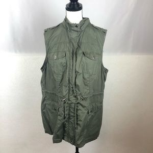 Cavalini Sleeveless Military Style Zip Up Vest 1X